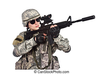 US soldier with rifle on a white background