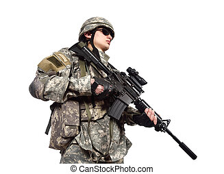 soldier holding his assault rifle isolation on white