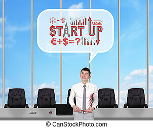 start up - businessman in room dreaming about start up