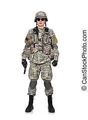 USA soldier with gun standing on a white background