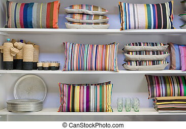 pillows cupboard - background of colorful pillows cupboard