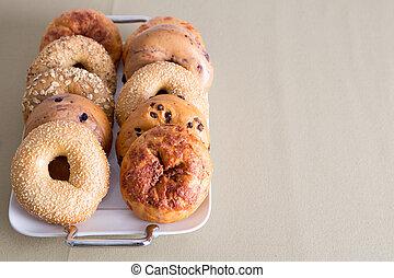 espacio, Rosquillas de pan, colocado, tabla, copia, bandeja