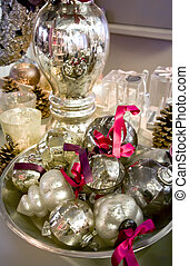 silver christmas decoration - christmas balls on silver tray...