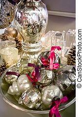 prata, Natal, decoração