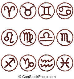 Set zodiac signs of ground coffee and coffee beans isolated...