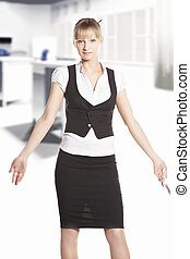 Shrugging woman at the office - Shrugging woman winth phone...