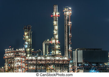 oil and gas refinery petrochemical factory at night