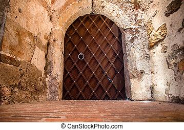 Metal massive door in a stone cave