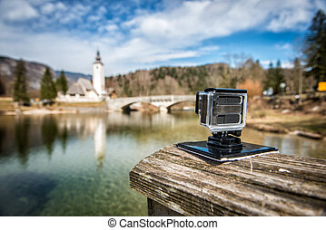 small action camera filming nice landscape slow motion...
