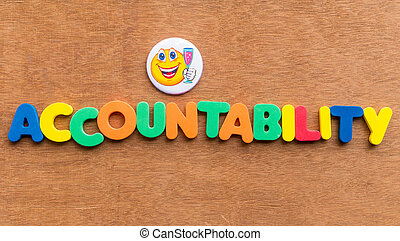 accountability colorful word on the wooden background
