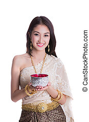 Thai lady with Songkran festival concept in whith isolated...