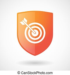 Shield icon with a dart board - Illustration of a shield...