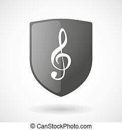 Shield icon with a g clef - Illustration of a shield icon...