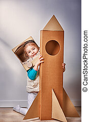 astronaut - child is dressed in an astronaut costume