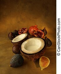 Coconut, fresh figs and pomegranates - Fruit and coconut...
