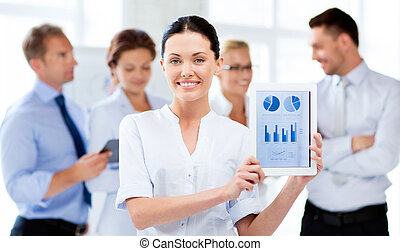 businesswoman with tablet pc - businesswoman showing tablet...