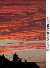 dramatic red sky - dramtic red sky at night
