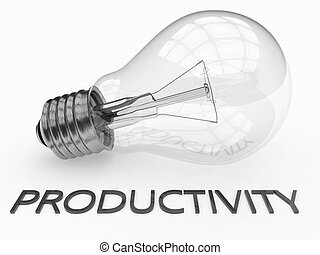 Productivity - lightbulb on white background with text under...