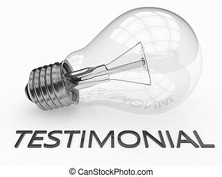 Testimonial - lightbulb on white background with text under...