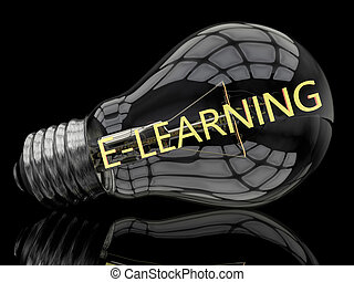 E-learning - lightbulb on black background with text in it....