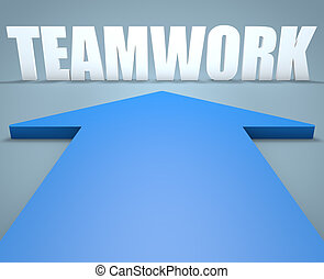 Teamwork - 3d render concept of blue arrow pointing to text.