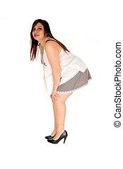 Woman bending down.