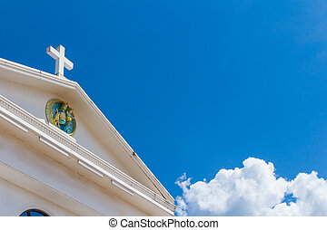 white cross on blue sky - big white cross on blue sky