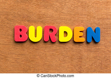 burden colorful word on the wooden background