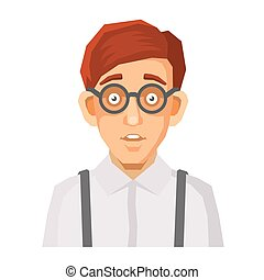 Cartoon Style Portrait of Nerd with Glasses and Green...