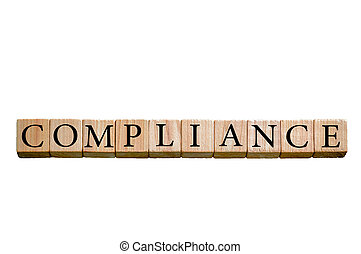 Word COMPLIANCE isolated on white background