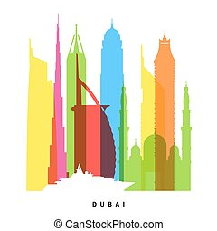 Dubai landmarks bright collage illustration