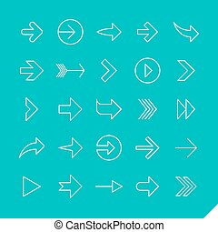 Thin linear arrows icons set