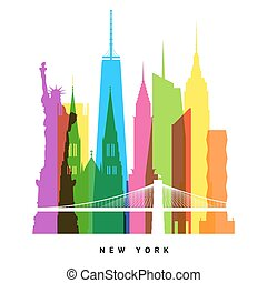 New York landmarks bright collage illustration