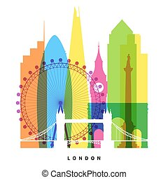 London landmarks bright collage illustration