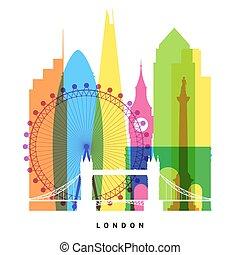London landmarks bright collage illustration