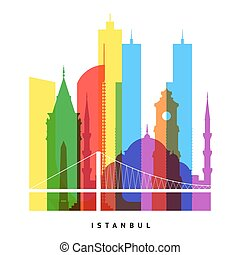 Istanbul landmarks bright collage illustration