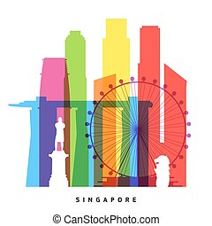 Singapore landmarks bright collage illustration
