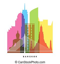 Bangkok landmarks bright collage illustration