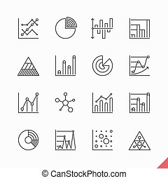 Thin linear business data market infographic elements icons...