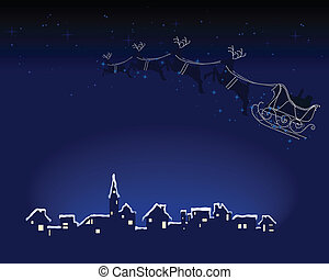 Santa is coming to town - Abstract vector illustration of...