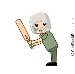 Cartoon Cricketer Playing - Cartoon Happy Cricket Player...