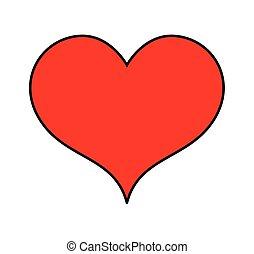 Simple Heart Vector Illustration - Comic Valentine Love...