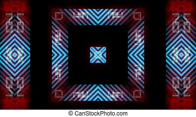 Kaleidoscopic pattern with stripes - Symmetric multicolored...