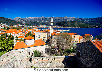 Budva old city - Top view from citadel on Budva old city...