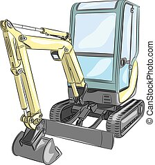 Mini excavator.Vector illustration - vector yellow mini...