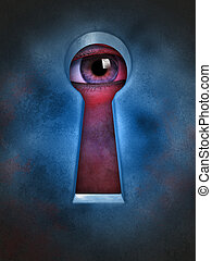 Privacy violation - Human eye spying through a keyhole...