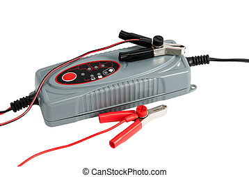 Modern electronic charger for car battery with terminals and...