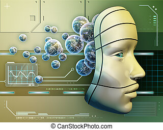 Electronic Brain - Conceptual image depicting a robot mask...