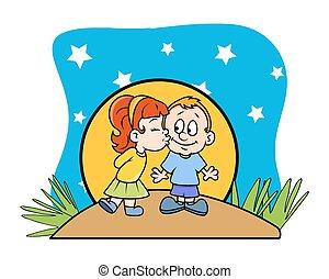 CÙte, dziewczyna, Wektor, całowanie, Chłopiec
