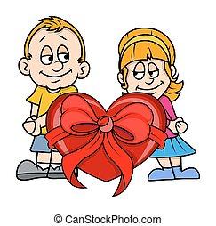 Teenage Couple with Heart Gift